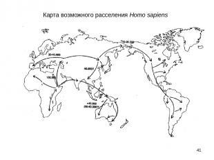 * Карта возможного расселения Homo sapiens