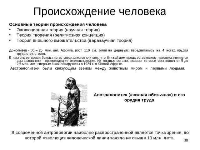 * Происхождение человека Основные теории происхождения человека Эволюционная теория (научная теория) Теория творения (религиозная концепция) Теория внешнего вмешательства (паранаучная теория) Дриопитек - 30 – 25 млн. лет, Африка, рост 110 см, жи…