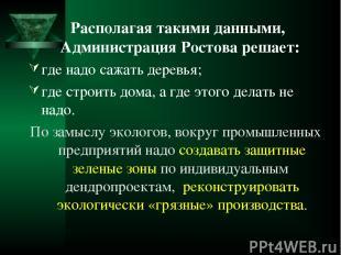 Располагая такими данными, Администрация Ростова решает: где надо сажать деревья
