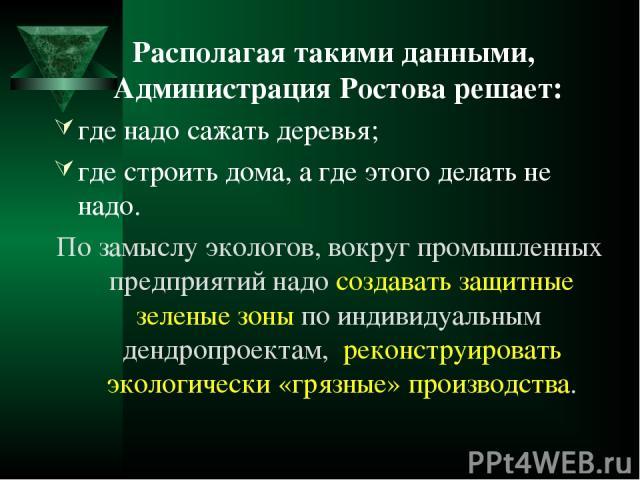 Располагая такими данными, Администрация Ростова решает: где надо сажать деревья; где строить дома, а где этого делать не надо. По замыслу экологов, вокруг промышленных предприятий надо создавать защитные зеленые зоны по индивидуальным дендропроекта…