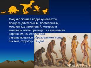 Под эволюцией подразумевается процесс длительных, постепенных, медленных изменен