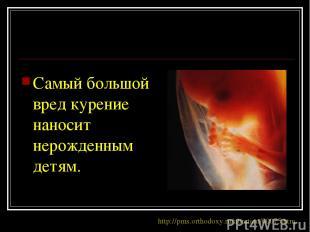 Самый большой вред курение наносит нерожденным детям. http://pms.orthodoxy.ru/ab