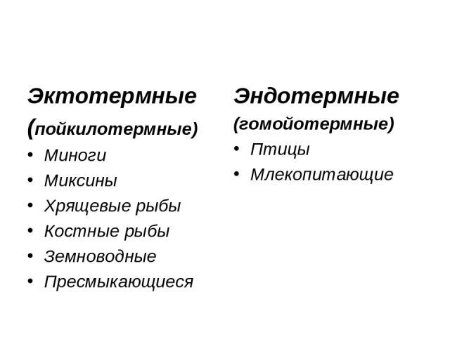Эктотермные (пойкилотермные) Миноги Миксины Хрящевые рыбы Костные рыбы Земноводные Пресмыкающиеся Эндотермные (гомойотермные) Птицы Млекопитающие