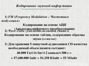 Кодирование звуковой информации 1) FM (Frequency Modulation – Частотная модуляци