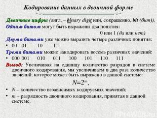 Кодирование данных в двоичной форме Двоичные цифры (англ. – binary digit или, со