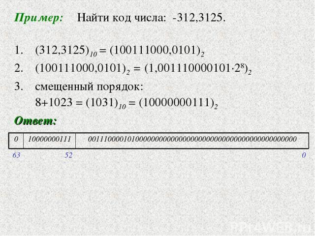 Пример: Найти код числа: -312,3125. 1. (312,3125)10 = (100111000,0101)2 (100111000,0101)2 = (1,001110000101·28)2 смещенный порядок: 8+1023 = (1031)10 = (10000000111)2 Ответ: