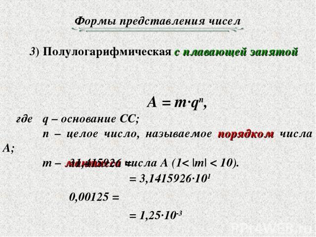 Формы представления чисел 3) Полулогарифмическая с плавающей запятой A = m·qn, где q – основание СС; n – целое число, называемое порядком числа A; m – мантисса числа A (1< |m| < 10). 31,415926 = = 3,1415926·101 0,00125 = = 1,25·10-3