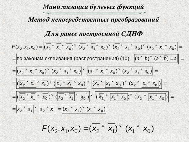 Минимизация булевых функций Метод непосредственных преобразований Для ранее построенной СДНФ