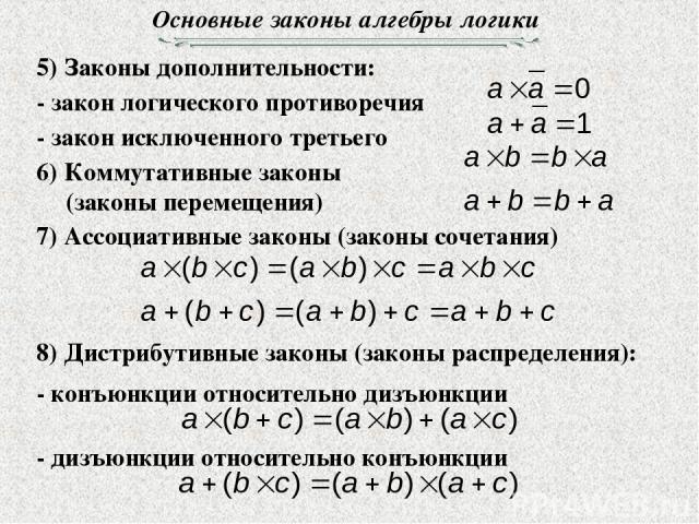 Основные законы алгебры логики 5) Законы дополнительности: 8) Дистрибутивные законы (законы распределения):