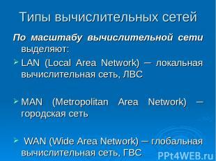Типы вычислительных сетей По масштабу вычислительной сети выделяют: LAN (Local A