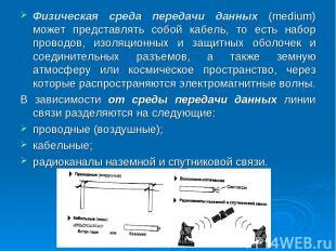 Физическая среда передачи данных (medium) может представлять собой кабель, то ес
