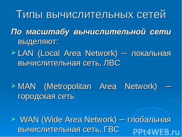 Типы вычислительных сетей По масштабу вычислительной сети выделяют: LAN (Local Area Network) ─ локальная вычислительная сеть, ЛВС MAN (Metropolitan Area Network) ─ городская сеть WAN (Wide Area Network) ─ глобальная вычислительная сеть, ГВС