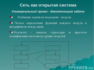 Сеть как открытая система Универсальный прием - декомпозиция задачи ¨ Разби