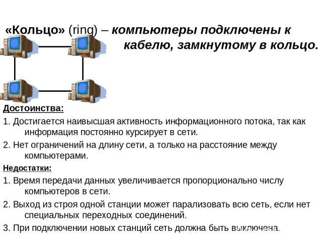 «Кольцо» (ring) – компьютеры подключены к кабелю, замкнутому в кольцо. Достоинства: 1. Достигается наивысшая активность информационного потока, так как информация постоянно курсирует в сети. 2. Нет ограничений на длину сети, а только на расстояние м…