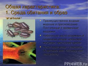 Общая характеристика: 1. Среда обитания и образ жизни: Преимущественно водные: м
