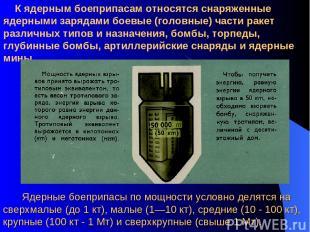 К ядерным боеприпасам относятся снаряженные ядерными зарядами боевые (головные)