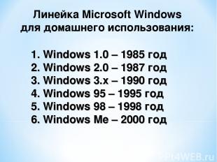 Windows 1.0 – 1985 год Windows 2.0 – 1987 год Windows 3.x – 1990 год 4. Windows