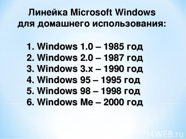 Windows 1.0 – 1985 год Windows 2.0 – 1987 год Windows 3.x – 1990 год 4. Windows 95 – 1995 год 5. Windows 98 – 1998 год 6. Windows Me – 2000 год Линейка Microsoft Windows для домашнего использования: