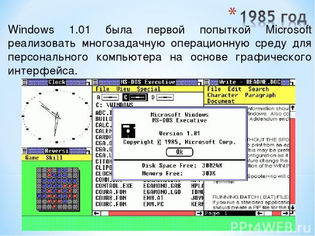 Windows 1.01 была первой попыткой Microsoft реализовать многозадачную операционную среду для персонального компьютера на основе графического интерфейса.