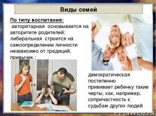 Виды семей По типу воспитания: авторитарная основывается на авторитете родителей