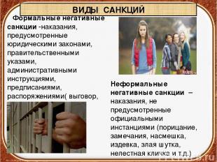 ВИДЫ САНКЦИЙ Формальныенегативные санкции-наказания, предусмотренные юридическ