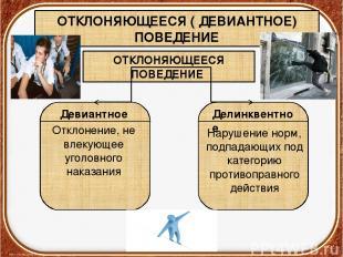 ОТКЛОНЯЮЩЕЕСЯ ( ДЕВИАНТНОЕ) ПОВЕДЕНИЕ ОТКЛОНЯЮЩЕЕСЯ ПОВЕДЕНИЕ Девиантное Делинкв