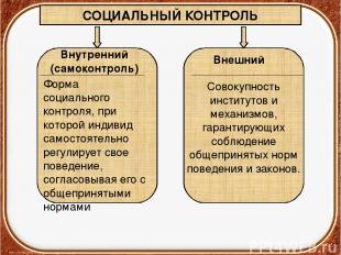 СОЦИАЛЬНЫЙ КОНТРОЛЬ Внутренний (самоконтроль) Внешний Форма социального контроля