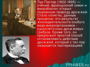 Луи Пастер (1822-1895) — учёный, французский химик и микробиолог открыл подлинну