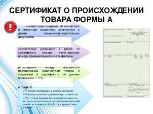 СЕРТИФИКАТ О ПРОИСХОЖДЕНИИ ТОВАРА ФОРМЫ А соответствие сведений об экспортере и