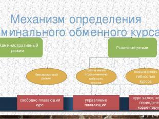 Механизм определения номинального обменного курса Административный режим Рыночны