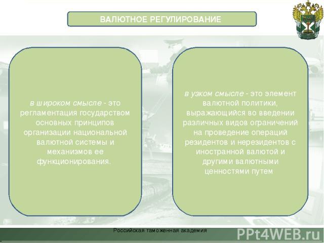 Российская таможенная академия ВАЛЮТНОЕ РЕГУЛИРОВАНИЕ в широком смысле - это регламентация государством основных принципов организации национальной валютной системы и механизмов ее функционирования. в узком смысле - это элемент валютной политики, вы…