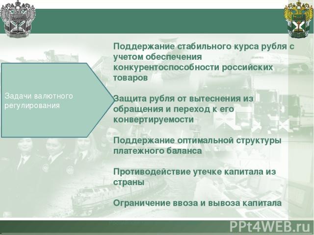 Российская таможенная академия Задачи валютного регулирования Поддержание стабильного курса рубля с учетом обеспечения конкурентоспособности российских товаров Защита рубля от вытеснения из обращения и переход к его конвертируемости Поддержание опти…