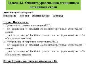 Задача 2.1. Оценить уровень инвестиционного потенциала стран Анализируемые стран
