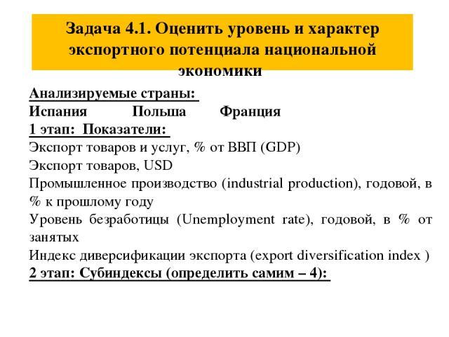 Задача 4.1. Оценить уровень и характер экспортного потенциала национальной экономики Анализируемые страны: Испания Польша Франция 1 этап: Показатели: Экспорт товаров и услуг, % от ВВП (GDP) Экспорт товаров, USD Промышленное производство (industrial …