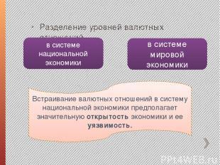 Разделение уровней валютных отношений в системе национальной экономики в системе