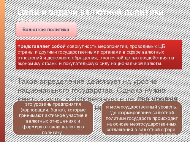 Цели и задачи валютной политики России. Такое определение действует на уровне национального государства. Однако нужно иметь в виду, что существует еще два уровня рассмотрения валютной политики – Валютная политика представляет собой совокупность меро…