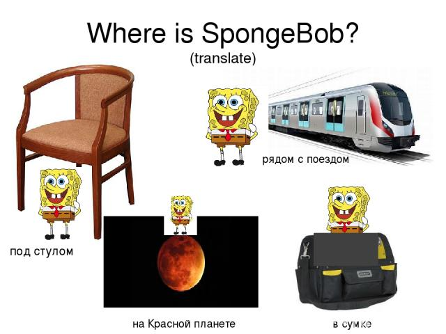 Where is SpongeBob? (translate) под стулом рядом с поездом на Красной планете в сумке