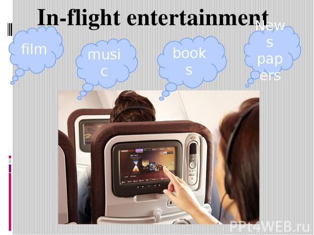 In-flightentertainment film music books News papers