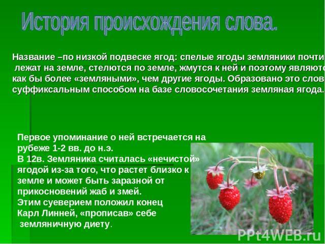 Название –по низкой подвеске ягод: спелые ягоды земляники почти лежат на земле, стелются по земле, жмутся к ней и поэтому являются как бы более «земляными», чем другие ягоды. Образовано это слово суффиксальным способом на базе словосочетания земляна…