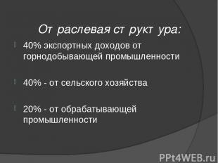 Отраслевая структура: 40% экспортных доходов от горнодобывающей промышленности 4
