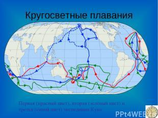 Кругосветные плавания Первая (красный цвет), вторая (зелёный цвет) и третья (син