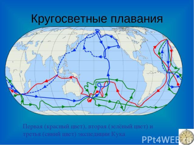 Кругосветные плавания Первая (красный цвет), вторая (зелёный цвет) и третья (синий цвет) экспедиции Кука