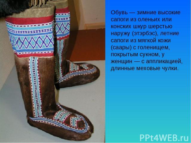 Обувь — зимние высокие сапоги из оленьих или конских шкур шерстью наружу (этэрбэс), летние сапоги из мягкой кожи (саары) с голенищем, покрытым сукном, у женщин — с аппликацией, длинные меховые чулки.