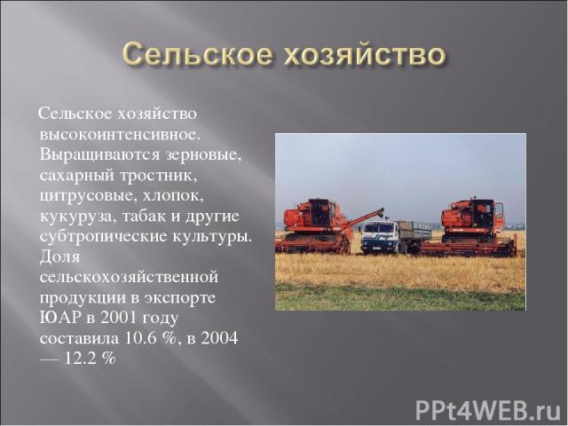 Сельское хозяйство высокоинтенсивное. Выращиваются зерновые, сахарный тростник, цитрусовые, хлопок, кукуруза, табак и другие субтропические культуры. Доля сельскохозяйственной продукции в экспорте ЮАР в 2001 году составила 10.6%, в 2004 — 12.2%