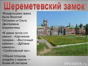 Владельцами замка были Василий Петрович и Ольга Дмитриевна Шереметевы В замке по