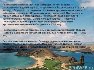 Галапаго сские острова (исп. Islas Galápagos, от исп. galápago — разновидность в