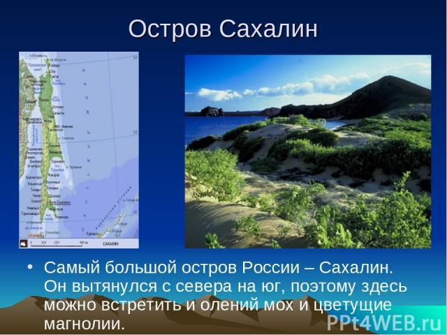 Остров Сахалин Самый большой остров России – Сахалин. Он вытянулся с севера на юг, поэтому здесь можно встретить и олений мох и цветущие магнолии.