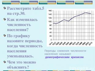 Рассмотрите табл.5 на стр.30. Как изменялась численность населения? По графику н