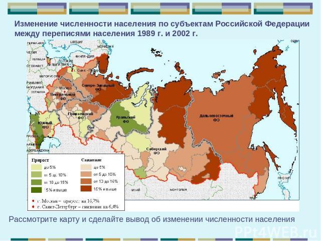 Изменение численности населения по субъектам РоссийскойФедерации между переписями населения 1989г.и2002 г. Рассмотрите карту и сделайте вывод об изменении численности населения