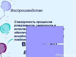 Воспроизводство Совокупность процессов рождаемости, смертности и естественного п
